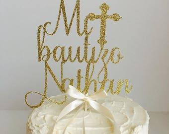 Mi Bautizo cake topper - Gold - baptism cake topper - Spanish cake topper #1157