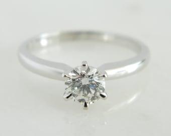 Beautiful 14K White Gold Diamond Solitaire Engagement Ring