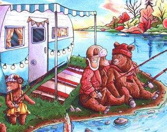 Woodland Creatures Print | Camper Decor - Papa Bear - RV Decor - Nursery Wall Art - Fishing Print