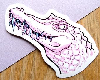 Pastel Reptile Sticker - Alligator Pink Punk Decal - Crocodile Illustration - Handmade Reptile Lover Gift