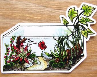 Betta Tank Sticker | Betta Fish Decal - Planted Tank Aquarium Stickers - Marimo Moss Ball