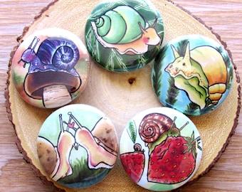 Cottagecore Snail Pin Set | Garden Button Set - Nature Aesthetic Buttons - Mollusk