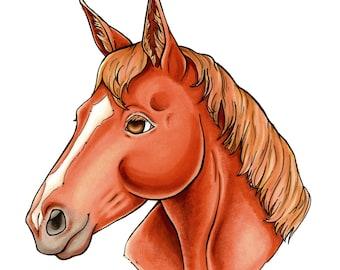 Hand Drawn Horse Portrait - Hand Painted Custom Art