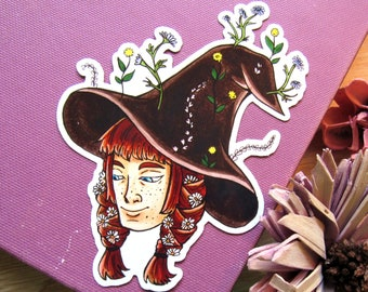 Flower Witch Sticker | Floral Witchy Decal - Green Witch Stickers