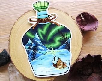 Alaska Sticker | Northern Lights - Aurora Borealis - Winter Sticker - Luggage Sticker - Computer Sticker