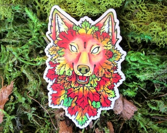 Wolf Wooden Pin | Wolf Pin - Wooden Brooch - Cryptid - Furry Pin - Wolf Gifts - Autumn Pin
