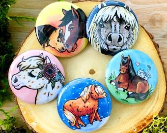 Miniature Horses Button Set | Farmcore / Cottagecore Pins