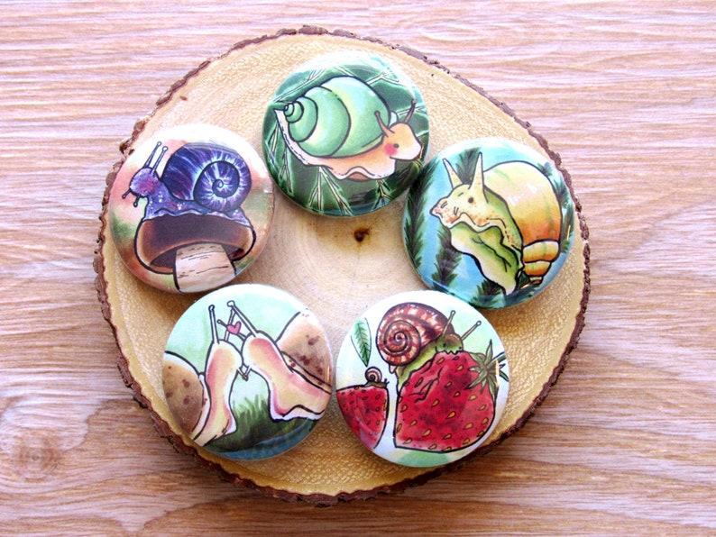 Cottagecore Snail Pin Set  Garden Button Set  Nature image 0