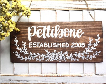family name / last name sign / floral established sign / housewarming sign / front door sign / personalized gift / wedding gift sign.