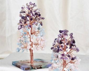 Rose Quartz/Amethyst/Aquamarine Crystal Stone Money Tree Set on Orgone Agate Slice Base, Tree of Life Healing Crystal Stone