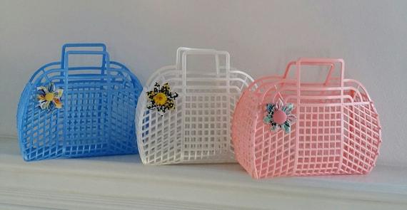 "1980/'s JELLY Plastic Purse//Handbag NEW Vintage Retro LILAC 13/"" Made in USA"