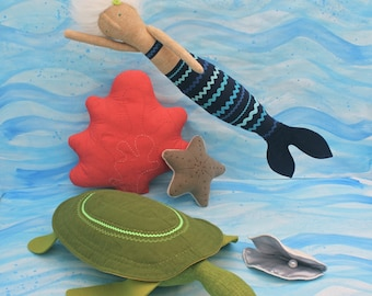 PDF Sewing Pattern for Underwater Quintet-Mermaid, Sea Turtle, Starfish, Coral, and Oyster
