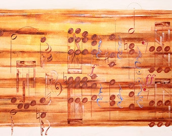 "Beethoven Symphony No.5 in C minor, A Canvas Print from an Original Artwork.  (Width 11.5"" by 19"" in Length) The Length Variable on Request."