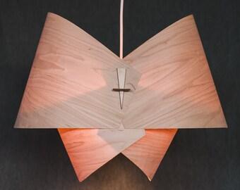 Wood Pendant Light Ceiling Light Fixture Wood Lamp Shade Modern Pendant Light in Veneer- The Bow- Custom Available