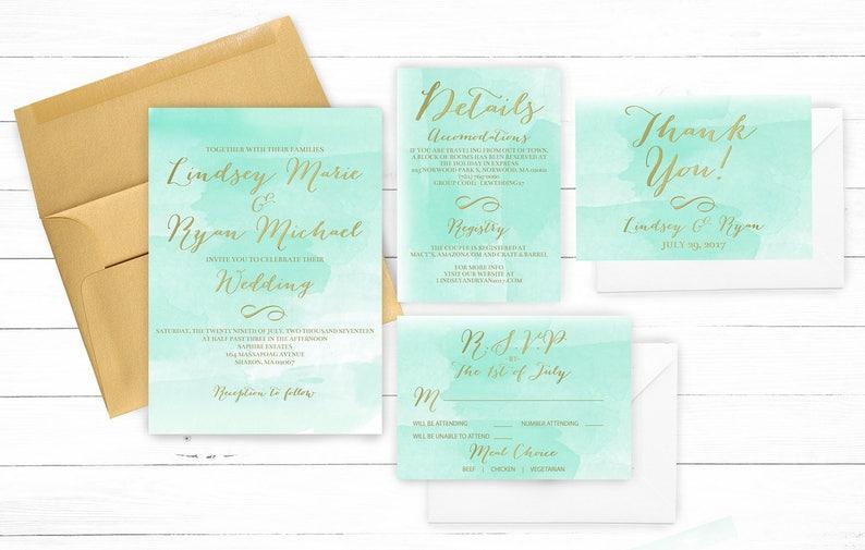 Wedding Invitation DIY Printable Digital File Mint Teal Gold Watercolor Elegant Boho Destination Ocean Sea Glass Coordinating Matching 016