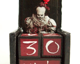 """Pennywise inspired wooden perpetual calendar-vintage, halloween, samhain, Stephen King """"It"""" inspired home decore--hand made"""