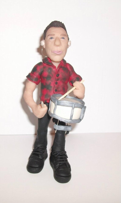 Larry Mullen Jr, U2 drummer, sculpture, polymer clay figurine - hand  sculpted, rock star home decor - made of fimo, sculpey