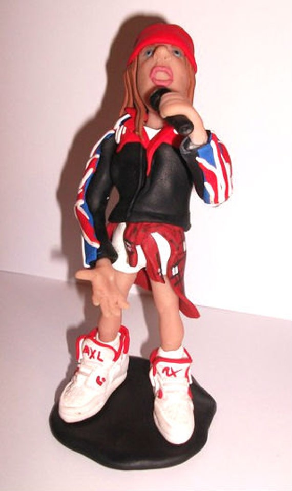Axl Rose, Guns N' Roses, Rock star doll, unique hand made sculpture, rock metal star home decor fimo, sculpey