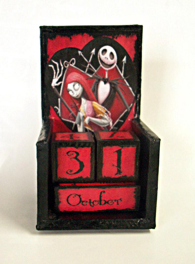 Jack Skellington e Sally in legno calendario perpetuo-vintage  30d1bd52087c