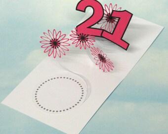 21st Birthday Card Flowers Spiral Pop Up 3D