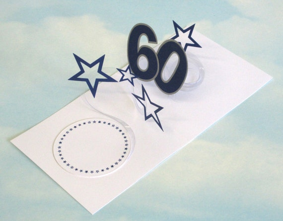60th Birthday Card Spiral Pop Up 3D Blue Stars