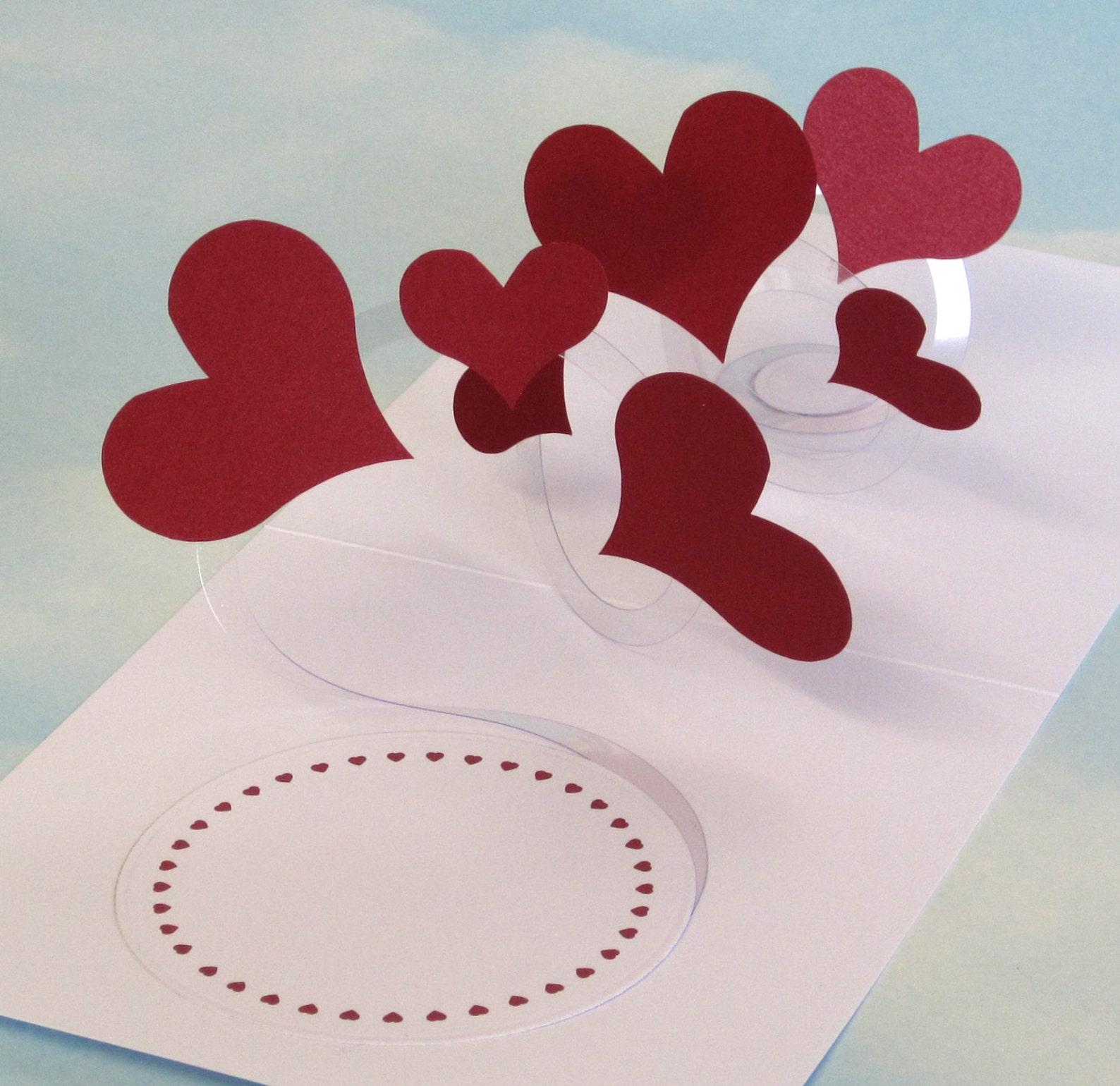 Объемная открытка с сердцем, пожелания доброго дня