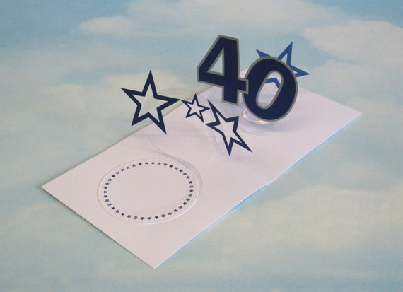 40th Birthday Card Spiral Pop Up 3D Blue Stars