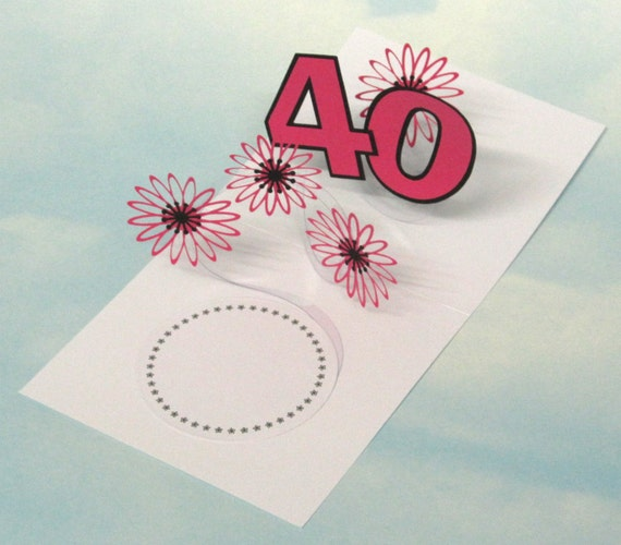 40th Birthday Card Flowers Spiral Pop Up 3D Pink Flowers