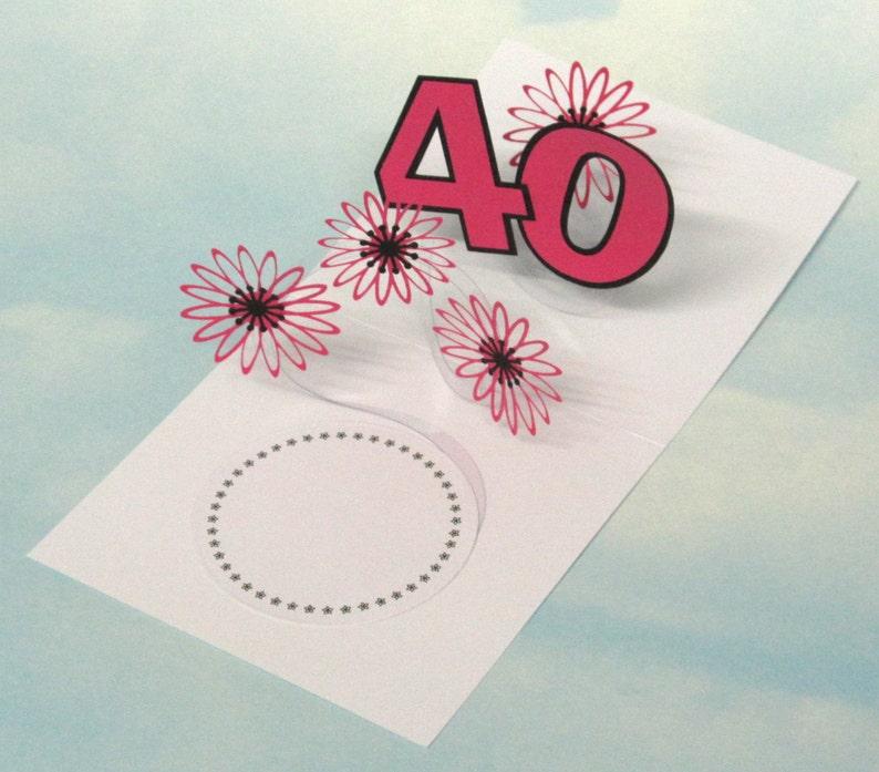 40th Birthday Card Flowers Spiral Pop Up 3D Pink