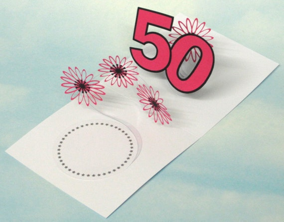 50th Birthday Card Flowers Spiral Pop Up 3D Pink