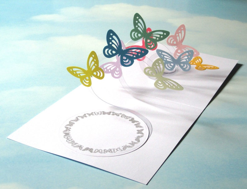 Butterfly Card Spiral Pop Up 3D Handmade