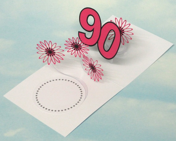 90th Birthday Card Flowers Spiral Pop Up 3D Pink