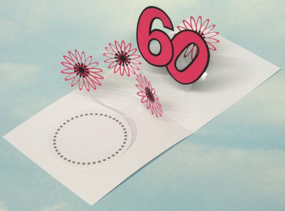 60th Birthday Card Flowers Spiral Pop Up 3D Pink