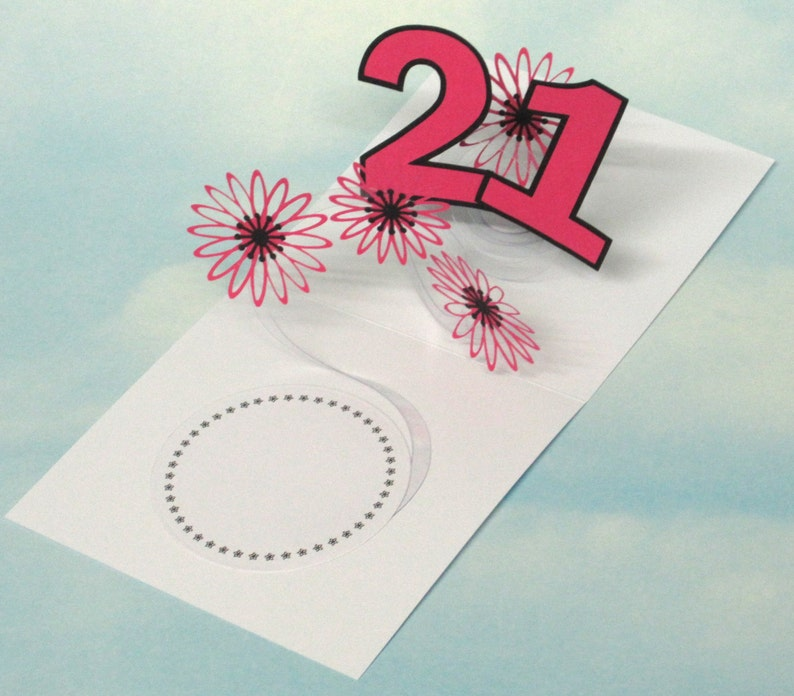 21st Birthday Card Flowers Spiral Pop Up 3D Pink