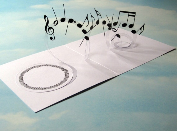 Music Card Spiral Pop Up Musical Notes 3D Handmade
