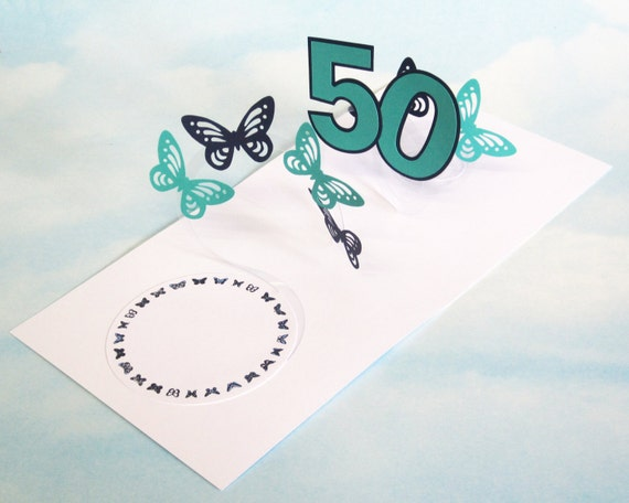 50th Birthday Card Butterfly Spiral Pop Up Blue And Green