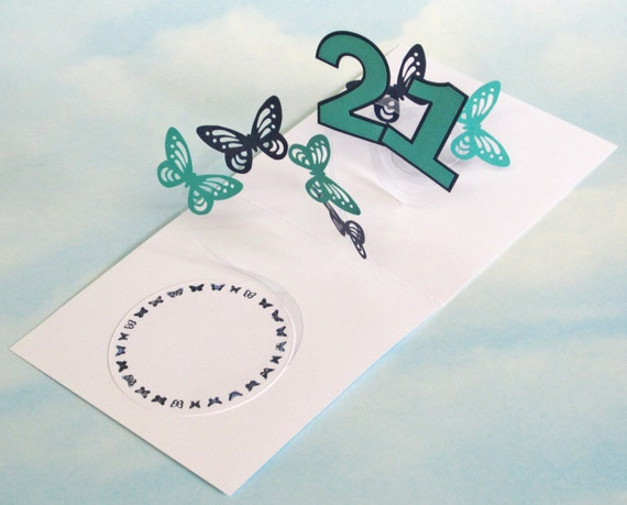 21st Birthday Card Butterfly Spiral Pop Up Blue And Green