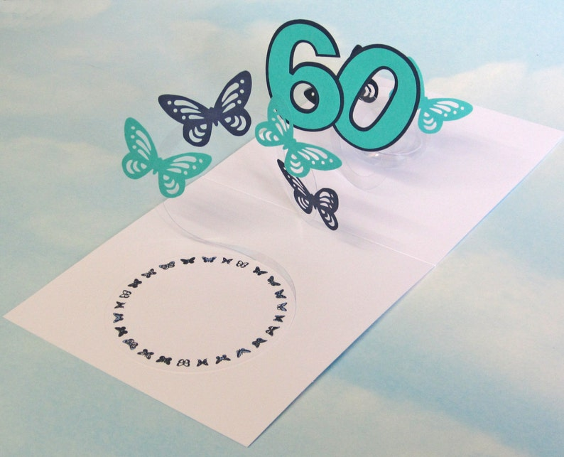 60th Birthday Card Butterfly Spiral Pop Up Blue And Green