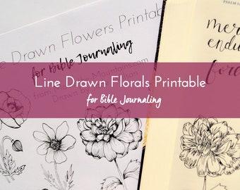 Bible Journaling Printable - Line Drawn Flowers - Bible Journaling - Easy-to-Print