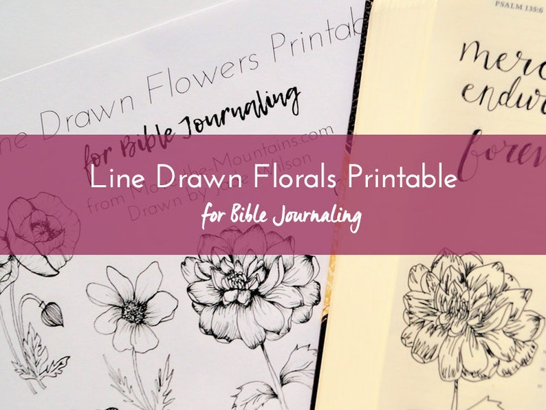 Line Drawn Flowers Bible Journaling Easy-to-Print Bible Journaling Printable