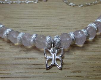 Rose Quartz and Sterling Silver Bracelet.  Silver Bracelet. Rose Quartz.