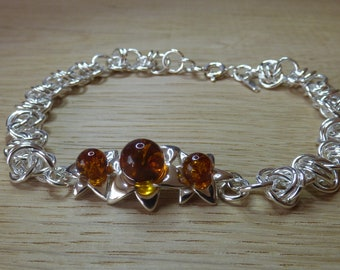 Baltic Amber Sterling Silver Chainmaille Bracelet.  Chainmaille.