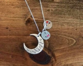 i love you to the moon and back, personalized necklace, hand stamped necklace, birthstone necklace