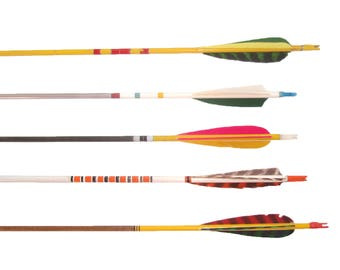Vintage Wood Arrows Wooden Arrows Painted Decorative Arrows Archery Arrows Set of 5 Retro Graphics Feather Arrows Boho Decor Mid Century