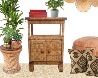Fantastic Wicker Nightstand Cabinet Shelf Boho Rattan Side Table Tiered Plant Stand Bookcase Display Stand Natural Tiki Bohemian Jungalow
