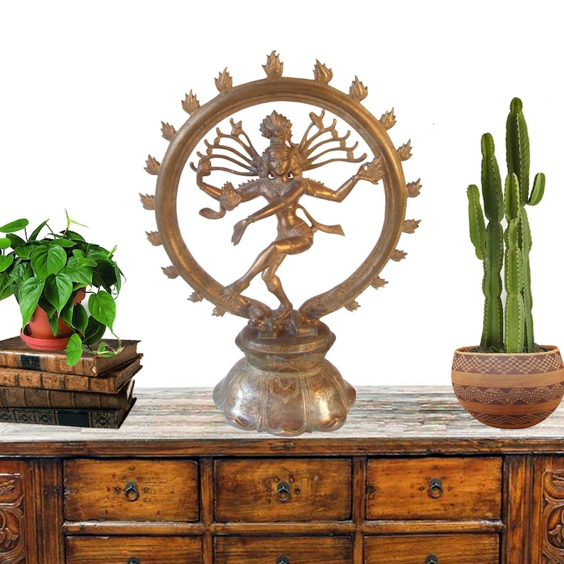 Huge Cast Brass Lord Shiva Statue 13 Hindu God Deity Nataraja Hinduism Metal Sculpture Meditation Altar Lord Creator Ring Of Fire Religious
