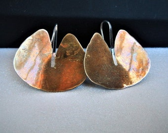 Modernist Earrings Ed Levin Earrings Bronze Silver Classic Lily Pad design Gorgeous Bronze Patina Sterling Silver Wires 80's Signed Levin