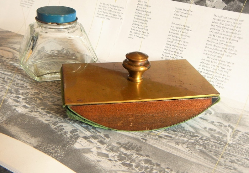 3bab37ad4a58fa Vintage Brass Ink Blotter Wooden rocking ink dryer   Watermans