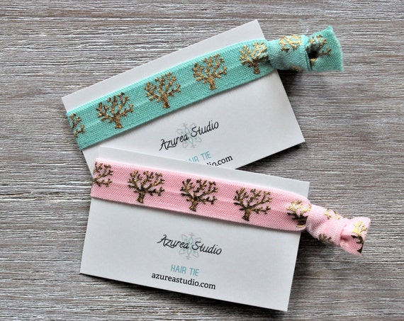 Coral Plant Gold-Light Turquoise-Pink-Hair Ties