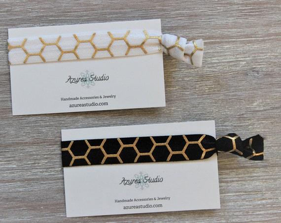 Honeycomb Gold -White-Black-Hair Ties